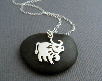 sterling silver ox necklace small bull Chinese zodiac symbol Shengxiao sheng xiao tiny spirit animal sign pendant. simple charm jewelry gift