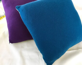 Apple green/teal blue colorblock cashmere pillow!!!
