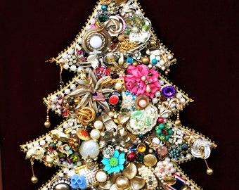 Jewelry Christmas Tree, Lighted Christmas Tree, Framed Jewelry Tree, Vintage Jewelry Art, Lit Christmas Jewelry Tree