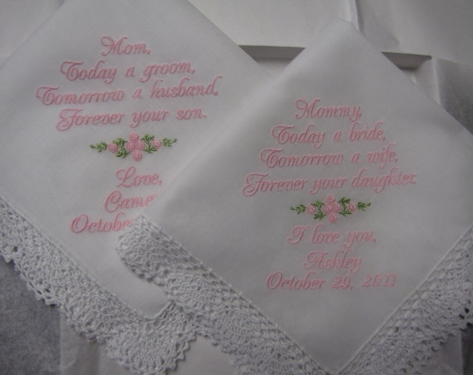 Set of Two Custom Personalized Wedding Handkerchiefs for Mother of the Bride and Groom