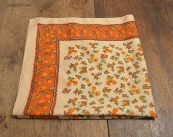 "Vintage 70s orange floral polyester neck scarf kerchief made in Italy retro 26"" square"