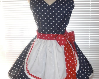 French Maid Apron Pin-up Retro Style Navy Blue Polka Dots with Red Polka Dots Flirty Skirt Sweetheart Neckline
