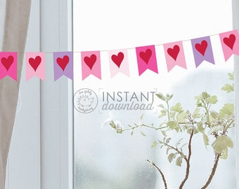 Printable Valentine's Banner Photo Prop Heart Bunting Girl 1st Birthday Last Minute Printable Banner Decorations Hearts Instant Download