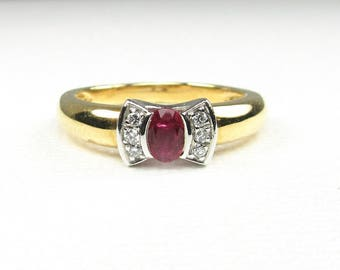 Ruby and Diamond Ring; Estate Ruby and Diamond Ring; July Birthstone Ring; Ruby Ring; Hallmarked Ruby Ring; Hallmarked Ruby and diamond Ring