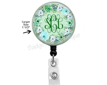 Floral Badge Reel, Monogram Badge Reel, Green Retractable Badge Holder, Green Initial Badge Reel, ID Name Clip, Nurse Stethoscope Tag,