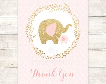 pink gold elephant thank you cards printable DIY bridal baby shower pink gold glitter wreath thank you cards - INSTANT DOWNLOAD
