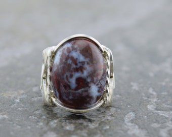 Red Lightning Agate Sterling Silver Wire Wrapped Ring