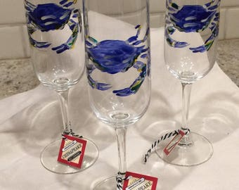 Nautical Blue Crab Champagne Glasses