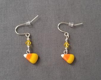 Candy Corn Earrings - Halloween Earrings - Polymer Clay Dangle Earrings
