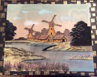 Vintage embordered silk painting