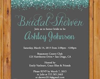 Teal Bridal Shower Glitter Sparkles Invite Blue Grey Hens Party Printable Invitation 5x7 Digital JPG (463)