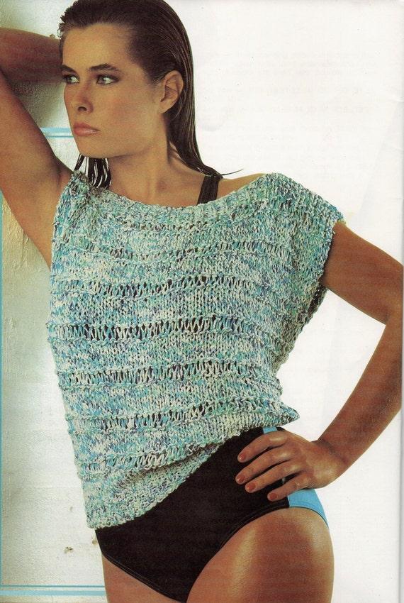 1980s Vintage Knitting Pattern Womens Ladies Cotton Knit Top