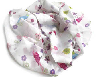 Bird Scarf, Spring Infinity Scarf, Bird Lover Gift, Pink Blue and Off White, Lightweight Scarf, Birds & Flowers, Summer Scarf