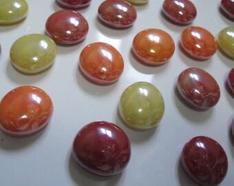 Handmade Glass Pebble Refrigerator Magnets set of 24 Neodymium Warm
