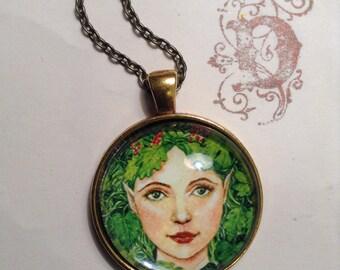Handmade pendant, Green Woman, fantasy portrait, art pendant