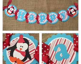 Penguin Birthday Banner, Winter Birthday Banner, Penguin Party Banner, Winter Wonderland Birthday Banner, Penguin Birthday Party
