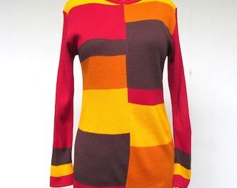 Vintage 1960s Sweater / 60s MOD Colorblock Pullover / Small - Medium