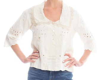 Edwardian White Embroidered Top Size: M