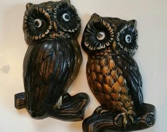 Vintage Precious Loving Owl couple wall plaques