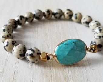 turquoise bracelet, jasper bracelet, boho jewelry, mala beads bracelet, beaded bracelet for women, mother gift from daughter, stretch bracel