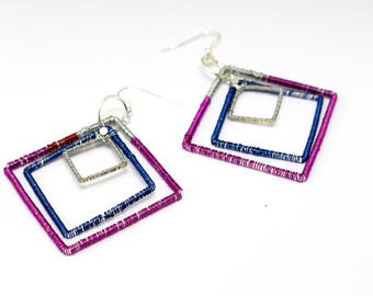 Square ethnic pink earrings