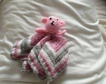 Pinkk teddy lovey comfort blanket