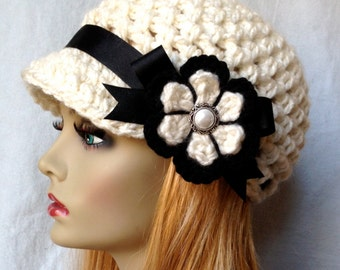 Crochet Newsboy Womens Hat, Teens Girls, Cream, Off White and Black, Soft Chunky, Ribbon, Flower, Gifts for Teens, Birthday Gifts JE505NFR2