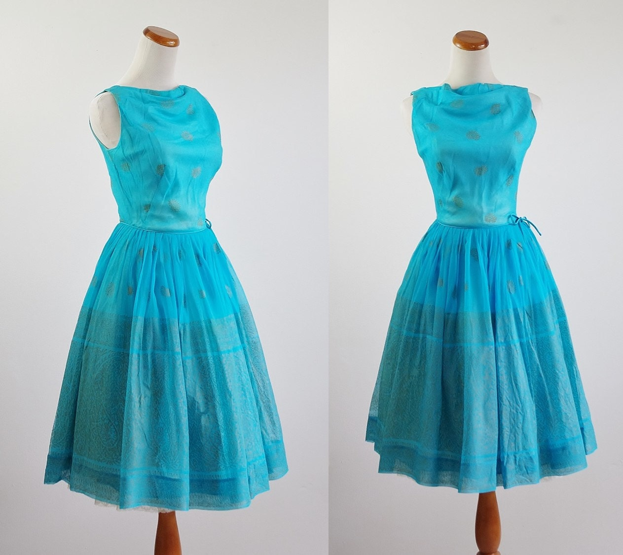 Vintage 50s Dress 60s Cocktail Dress Aqua Blue Chiffon Full