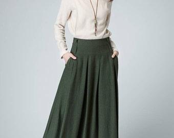 long green skirt, pleated skirt, olive green skirt, linen skirt, maxi skirt, womens skirts, A line skirt, skirt with pockets 1481