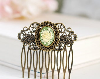 Victorian Style Cameo Filigree Hair Comb Sage Green Ivory Rose Cameo Art Nouveau Hair Accessory Rustic Vintage Antique Brass Hair Comb