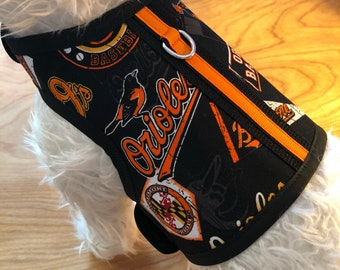 Small Dog Harness, Baltimore Orioles, Made  in USA, dog harnesses, pet clothing,