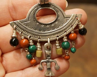 Argentine Pendant with Mapuche Talisman and Semi-Precious Beads