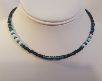 Black, Iridescent Green and White Glass Beaded Choker/Necklace