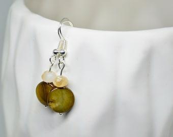 Brown Earrings, Cream Earrings, Silver Earrings, Dangle Earrings, Drop Earrings