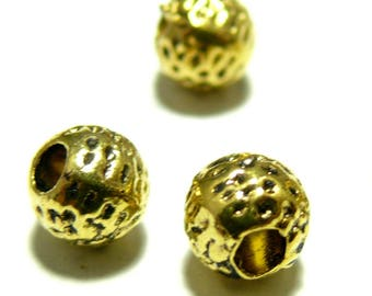 10 spacer beads gold P611 style hammered