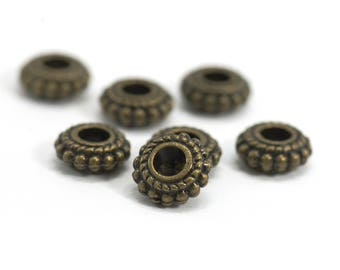 10 passing pearls / beads spacer large hole - Diam. : 8 mm - hole: 3 mm - Bronze color