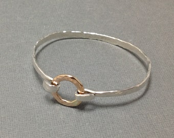 Mixed Metal Hammered Bangle with 14kt Gold Filled Circle Closure, Sterling and Gold hammered Artisan Hook Closure Bracelet