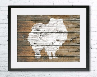 Pomeranian 2 art illustration print, Pomeranian painting ,dog illustration, Wall art, Rustic Wood art, Animal silhouette