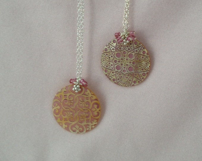 Pink Tourmaline Lattice / Snowflake Lace Patterned Mother of Pearl Shell Pendant Necklace