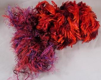 Lot 2 Partial Variegated Yarn Boa Fun Fur Eyelash Red FREE SHIPPING USA