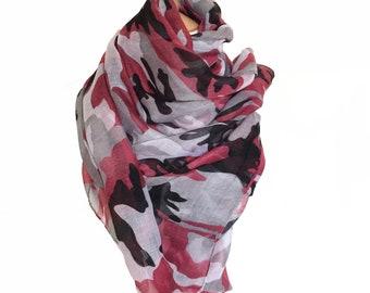 Summer Sale Red Black Grey White Camouflage print scarves,Scarfs Scarfs,Wraps Wrap,Shawls,Neckerchief,Stoles,Mufflers,Bandanas,Spring Scarf