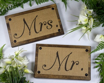 Mr and Mrs Signs - Groom and Bride Sign - Mr ands Mrs Chair Sign - Rustic Wedding Decor - Rustic Mr and Mrs Sign