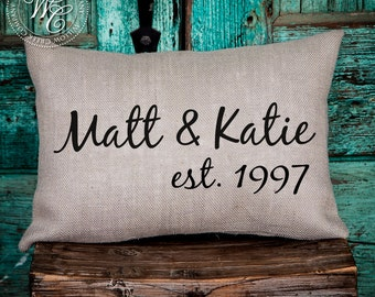 personalized wedding gift Personalized Pillow Burlap Pillow Engagement Gift Personalized Gift Monogram Pillow modern farmhouse rustic pillow
