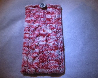 Red and White Hand Knitted Phone Cover