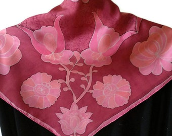 Luxury pink and grenate colored  hand painted silk scarf, Hungarian design, matyo pattern, floral mandala scarf,