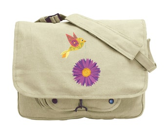 Tweet Aster Embroidered Canvas Messenger Bag