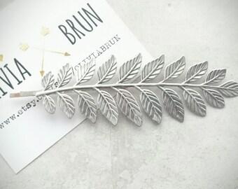 Silver Laurel Leaf Bobby Pin Silver Laurel Leaf Hair Clip Silver Headpiece Grecian Hair Bridal Accesories Greek Wedding