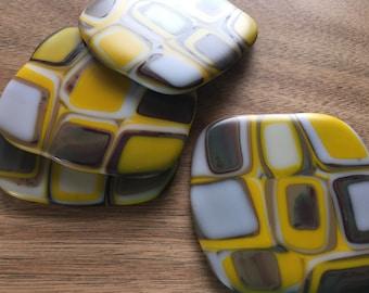 Mid Century Modern Glass Coasters, Set of 4