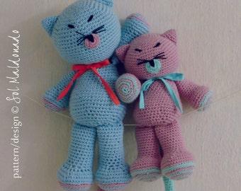 Amigurumi Crochet Pattern Cat PDF - Kitty and Cat amigurumi Toy crochet pattern - Instant DOWNLOAD