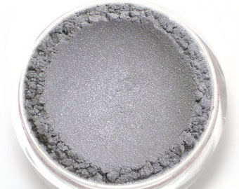 "Light Silver Gray Eyeshadow - ""Quartz"" - Frosty Silver with Lavender Shimmer Vegan Mineral Makeup"